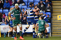 Matt Banahan of Bath Rugby celebrates his first half try with team-mates. Aviva Premiership match, between London Irish and Bath Rugby on November 19, 2017 at the Madejski Stadium in Reading, England. Photo by: Patrick Khachfe / Onside Images