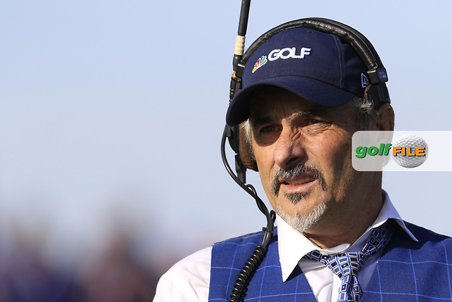 David Feherty commentating for the Golf Channel at the 12th green during Saturday's Foursomes Matches at the 2018 Ryder Cup 2018, Le Golf National, Ile-de-France, France. 29/09/2018.<br /> Picture Eoin Clarke / Golffile.ie<br /> <br /> All photo usage must carry mandatory copyright credit (© Golffile | Eoin Clarke)