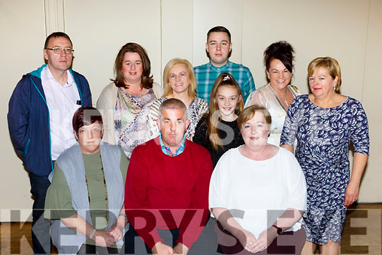 Ian O'Connell family at the fundraiser held by Spa GAA in the Torc Hotel on Sunday night front row l-r: Breda Doona, Mike O'Connell,Siobhain Lyne, Back row: John Lyne Geraldine Burke, Kitty Scannell, Jason Lyne and Sheila Riordan