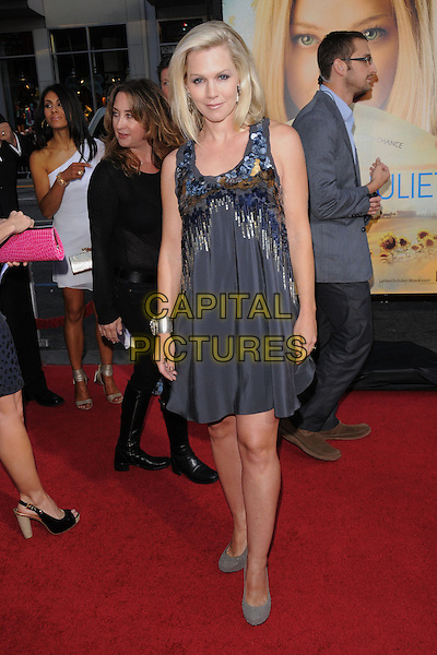 "JENNIE GARTH.L.A. Premiere of ""Letters to Juliet"" held at The Grauman's Chinese Theatre in Hollywood, California, USA..May 11th, 2010.full length grey gray dress silver blue beads beaded sleeveless paillettes.CAP/RKE/DVS.©DVS/RockinExposures/Capital Pictures."