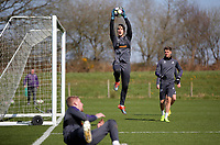 Pictured: Goalkeeper Gregor Zabret (C) makes a save Friday 24 March 2017<br /> Re: Swansea City U23 training ahead of their International Cup game against Porto, Fairwood training ground, UK