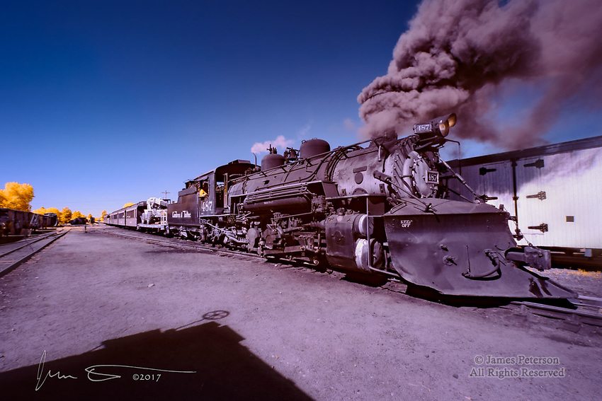 Steaming Up - Old 487, Chama, New Mexico (Infrared) ©2017 James D Peterson.  This classic engine, on the historic Cumbres and Toltec Scenic Railroad, was just seconds away from starting its journey through the San Juan Mountains to Antonito, Colorado.  This narrow gauge line was originally part of the Denver and Rio Grande Western Railroad.
