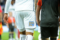 Swansea City's new short sponsor low cost vans on Martin Olsson of Swansea City during the Sky Bet Championship match between Swansea City and Leeds United at the Liberty Stadium, Swansea, Wales, UK. Tuesday 21 August 2018