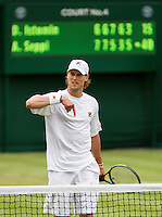 25-06-13, England, London,  AELTC, Wimbledon, Tennis, Wimbledon 2013, Day two, Andreas Seppi (ITA) wins the first round<br /> <br /> <br /> <br /> Photo: Henk Koster