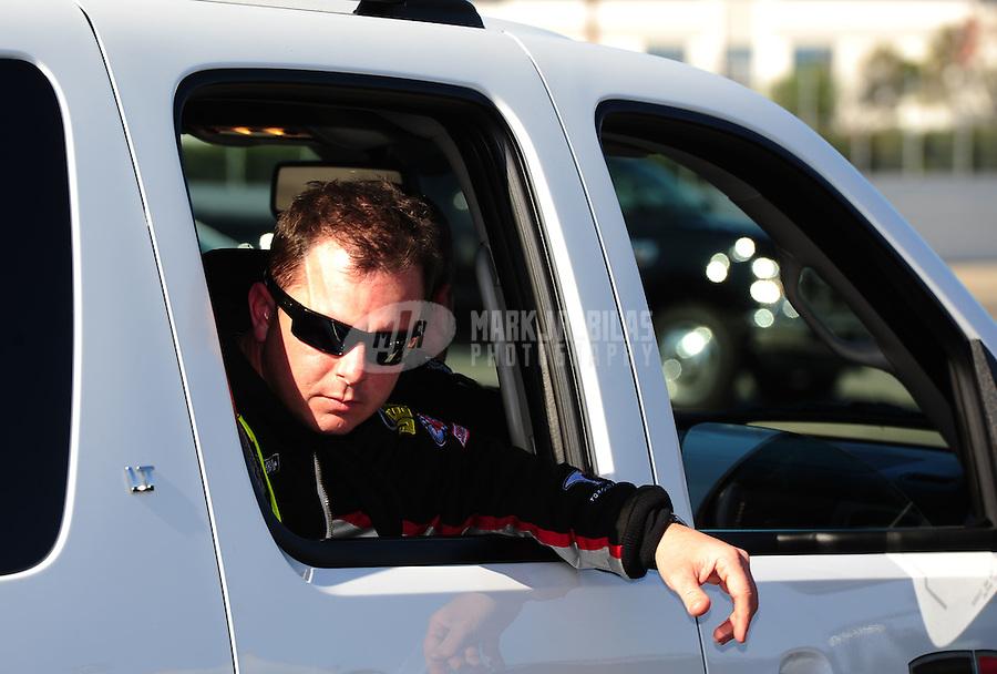 Feb. 10, 2012; Pomona, CA, USA; NHRA top fuel dragster driver Steve Torrence during qualifying at the Winternationals at Auto Club Raceway at Pomona. Mandatory Credit: Mark J. Rebilas-