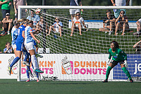 Allston, MA - Saturday August 19, 2017: Alanna Kennedy, Megan Oyster, Monica Hickmann Alves, Abby Smith during a regular season National Women's Soccer League (NWSL) match between the Boston Breakers and the Orlando Pride at Jordan Field.