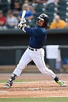 Designated hitter Jay Jabs (7) of the Columbia Fireflies bats in a game against the Rome Braves on Sunday, July 2, 2017, at Spirit Communications Park in Columbia, South Carolina. Columbia won, 3-2. (Tom Priddy/Four Seam Images)