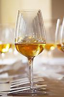 Wine tasting. Wine glasses. Chenin blanc sweet wines.