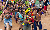 "Altamira, Brazil. ""Xingu Vivo Para Sempre"" protest meeting about the proposed Belo Monte hydroeletric dam and other dams on the Xingu river and its tributaries. Kayapo Indians."