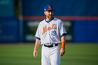 St. Lucie Mets Todd Frazier (19), on rehab assignment, during warmups before a Florida State League game against the Florida Fire Frogs on April 12, 2019 at First Data Field in St. Lucie, Florida.  Florida defeated St. Lucie 10-7.  (Mike Janes/Four Seam Images)