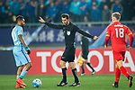 Fifa Referee Ravshan Irmatov of Uzbekistan (C) talks to Jiangsu FC Forward Alex Teixeira (L) during the AFC Champions League 2017 Group H match between Jiangsu FC (CHN) vs Adelaide United (AUS) at the Nanjing Olympics Sports Center on 01 March 2017 in Nanjing, China. Photo by Marcio Rodrigo Machado / Power Sport Images