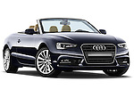 Low aggressive passenger side front three quarter view of a 2013 Audi A5 Convertible with the top down..