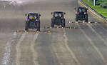 September 3, 2020: Tractors seal the wet track before horses prepare for the 2020 Kentucky Derby and Kentucky Oaks at Churchill Downs in Louisville, Kentucky. The race is being run without fans due to the coronavirus pandemic that has gripped the world and nation for much of the year. Scott Serio/Eclipse Sportswire/CSM