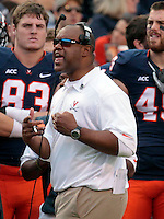 Virginia head coach Mike London reacts to a call during the game against Clemson Saturday at Scott Stadium in Charlottesville, VA. Clemson defeated Virginia 59-10.  Photo/Andrew Shurtleff