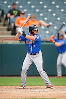 Akron RubberDucks second baseman Todd Hankins (8) at bat during the first game of a doubleheader against the Bowie Baysox on June 5, 2016 at Prince George's Stadium in Bowie, Maryland.  Bowie defeated Akron 6-0.  (Mike Janes/Four Seam Images)