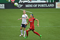 Portland, OR - Saturday, May 21, 2016: Portland Thorns FC forward Nadia Nadim (9) and Washington Spirit midfielder Joanna Lohman (15). The Portland Thorns FC defeated the Washington Spirit 4-1 during a regular season National Women's Soccer League (NWSL) match at Providence Park.