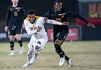 COLLEGE PARK, MD - NOVEMBER 21: Mlcolm Moreno #2 of Iona gets away from Fola Adetola #29 of Maryland during a game between Iona College and University of Maryland at Ludwig Field on November 21, 2019 in College Park, Maryland.