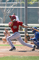 Westley Moss #8 of the Arizona Diamondbacks plays in an extended spring training game against the Chicago Cubs at the Cubs minor league complex on April 22, 2011  in Mesa, Arizona. .Photo by:  Bill Mitchell/Four Seam Images.