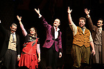 Jonathan Sayer, Nancy Zamit, Greg Tannahill, Henry Lewis, Henry Shields from the cast of 'The Play That Goes Wrong' during the Broadway Opening Night curtain call bows at the Lyceum Theatre on April 2, 2017 in New York City.
