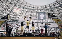 Chris Froome (GBR/SKY) retains the yellow jersey after the final TT leaving him taking his 4th Tour de France overall title a formality<br /> <br /> 104th Tour de France 2017<br /> Stage 20 (ITT) - Marseille › Marseille (23km)