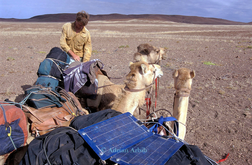 Benedict Allen and Solar panels which he uses for  powering his video camera and GPS, on an early morning  start  during his journey along the coast of Namibia on camels.  Nr. Springbokwasser. Damaraland, Namibia.