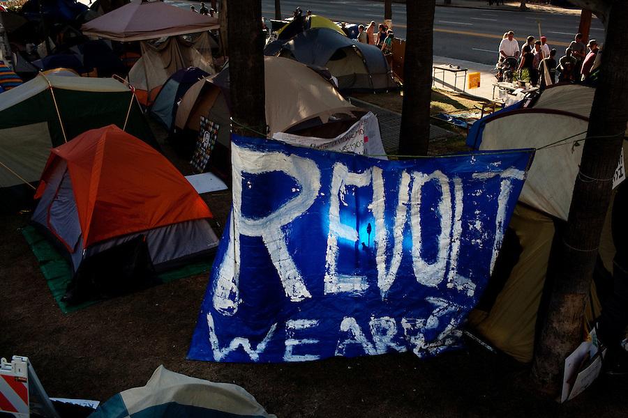 Los Angeles, California, October 23, 2011 –Members of Occupy Los Angeles camp on the steps of Los Angeles City Hall.