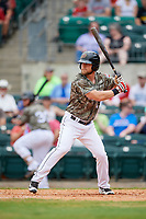 Arkansas Travelers first baseman Kyle Waldrop (10) at bat during a game against the Frisco RoughRiders on May 28, 2017 at Dickey-Stephens Park in Little Rock, Arkansas.  Arkansas defeated Frisco 17-3.  (Mike Janes/Four Seam Images)