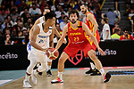 Sergio Llull of Spain and Gelvis Solano of Dominican Republic during the Friendly match between Spain and Dominican Republic at WiZink Center in Madrid, Spain. August 22, 2019. (ALTERPHOTOS/A. Perez Meca)