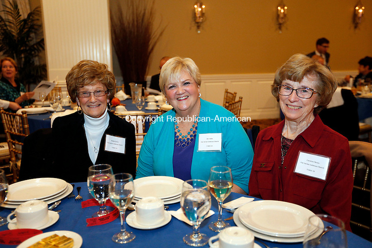 WATERTOWN, CT- 12 November 2016-111216CM17- Social Moments from left, Rachel Foster,  Bev Sabia and Carolyn Chesto from Our Savior Lutheran Church of Thomaston  are photographed during the Naugatuck Valley Project's 4th Annual Micah Awards Dinner at the Grand Oak Villa in Oakville on Saturday.    Christopher Massa Republican-American