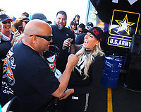 Feb 25, 2018; Chandler, AZ, USA; NHRA top fuel driver Leah Pritchett during the Arizona Nationals at Wild Horse Pass Motorsports Park. Mandatory Credit: Mark J. Rebilas-USA TODAY Sports