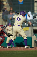 Andrew Bullock (36) of the Western Carolina Catamounts at bat against the Saint Joseph's Hawks at TicketReturn.com Field at Pelicans Ballpark on February 23, 2020 in Myrtle Beach, South Carolina. The Hawks defeated the Catamounts 9-2. (Brian Westerholt/Four Seam Images)