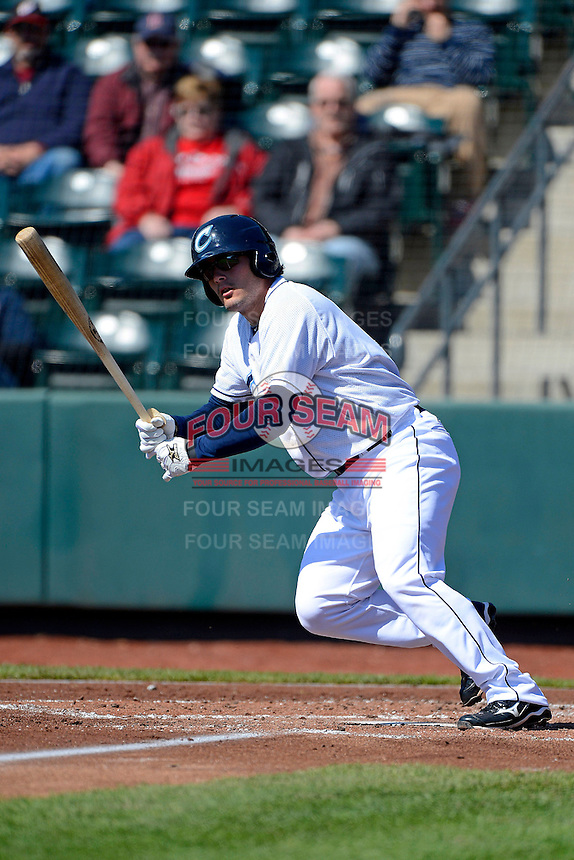 Columbus Clippers third baseman Adam Abraham #9 during a game against the Toledo Mudhens on April 22, 2013 at Huntington Park in Columbus, Ohio.  Columbus defeated Toledo 3-0.  (Mike Janes/Four Seam Images)