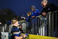 Sam Nixon of Bath Rugby chats with supporters after the match. Anglo-Welsh Cup match, between Bath Rugby and Newcastle Falcons on January 27, 2018 at the Recreation Ground in Bath, England. Photo by: Patrick Khachfe / Onside Images