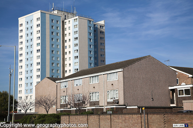 High and low rise housing, Lowestoft, Suffolk, England