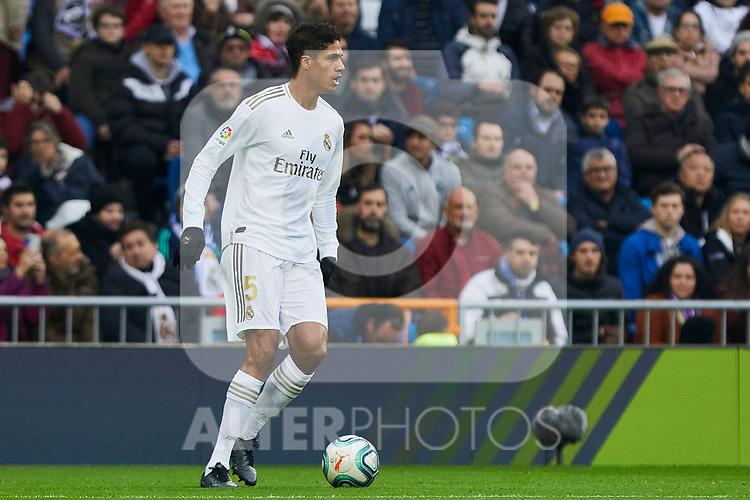 Raphael Varane of Real Madrid during La Liga match between Real Madrid and Sevilla FC at Santiago Bernabeu Stadium in Madrid, Spain. January 18, 2020. (ALTERPHOTOS/A. Perez Meca)