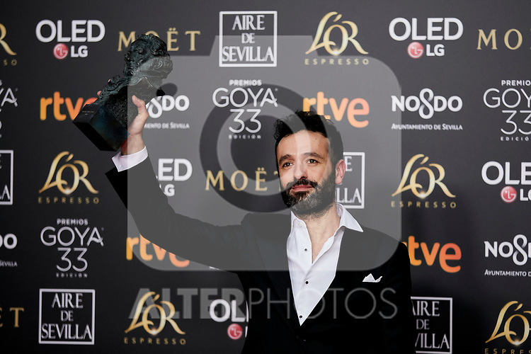Rodrigo Sorogoyen (best direction award for 'El reino') attends to 33rd Goya Awards at Fibes - Conference and Exhibition  in Seville, Spain. February 03, 2019. (ALTERPHOTOS/A. Perez Meca)