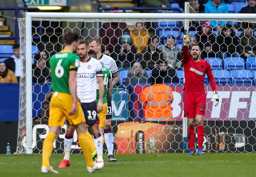 Bolton Wanderers' goalkeeper Remi Matthews marshalls his defence <br /> <br /> Photographer Andrew Kearns/CameraSport<br /> <br /> The EFL Sky Bet Championship - Bolton Wanderers v Preston North End - Saturday 9th February 2019 - University of Bolton Stadium - Bolton<br /> <br /> World Copyright © 2019 CameraSport. All rights reserved. 43 Linden Ave. Countesthorpe. Leicester. England. LE8 5PG - Tel: +44 (0) 116 277 4147 - admin@camerasport.com - www.camerasport.com