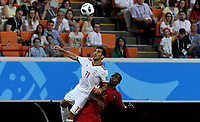 SARANSK - RUSIA, 25-06-2018: Vahid AMIRI (Izq) jugador de RI de Irán disputa el balón con WILLIAM (Der) jugador de Portugal durante partido de la primera fase, Grupo B, por la Copa Mundial de la FIFA Rusia 2018 jugado en el estadio Mordovia Arena en Saransk, Rusia. / Vahid AMIRI (L) player of IR Iran fights the ball with WILLIAM (R) player of Portugal during match of the first phase, Group B, for the FIFA World Cup Russia 2018 played at Mordovia Arena stadium in Saransk, Russia. Photo: VizzorImage / Julian Medina / Cont