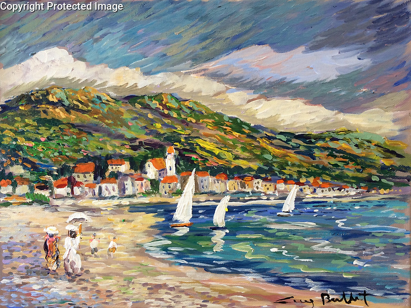 &quot;Le Lavandou, A Stroll on the Beach&quot;<br /> ORIGINAL<br /> 10.25x13.75 Acrylic on Canvas<br /> $4,800