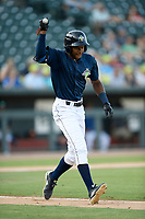 Center fielder Hansel Morteno (48) of the Columbia Fireflies shown his frustration after making an out in a game against the Augusta GreenJackets on Saturday, June 1, 2019, at Segra Park in Columbia, South Carolina. Columbia won, 3-2. (Tom Priddy/Four Seam Images)