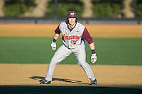 Erik Payne (5) of the Virginia Tech Hokies takes his lead off of first base against the Wake Forest Demon Deacons in game two of a doubleheader at Wake Forest Baseball Park on March 7, 2015 in Winston-Salem, North Carolina.  (Brian Westerholt/Four Seam Images)