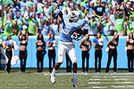 19 September 2015: UNC's M.J. Stewart reacts after intercepting a pass. The University of North Carolina Tar Heels hosted the University of Illinois Fighting Illini at Kenan Memorial Stadium in Chapel Hill, North Carolina in a 2015 NCAA Division I College Football game. UNC won the game 48-14.