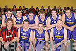 TEAM: Mustangs Sally team that played against St Mary's in the Division 1 Men's Final at the St Mary's basketball blitz in Castleisland Community Centre on Sunday were front l-r: Andrew Fitzgerald, Colm Hickey, Shane Horgan and Brian Clarke. Back l-r: Donal O'Donoghue, Rory O'Connor, Andrew O'Sullivan, Kevin O'Regan, Mark O'Leary and Jarlait Lee.   Copyright Kerry's Eye 2008