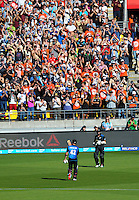 Brendon McCullum walks off after his dismissal for 77 off 39 balls during the ICC Cricket World Cup one day pool match between the New Zealand Black Caps and England at Wellington Regional Stadium, Wellington, New Zealand on Friday, 20 February 2015. Photo: Dave Lintott / lintottphoto.co.nz