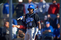 Indiana State Sycamores center fielder Kyle Moore (8) during a game against the Boston College Eagles on February 27, 2016 at North Charlotte Regional Park in Port Charlotte, Florida.  Boston College defeated Indiana State 5-3.  (Mike Janes/Four Seam Images)