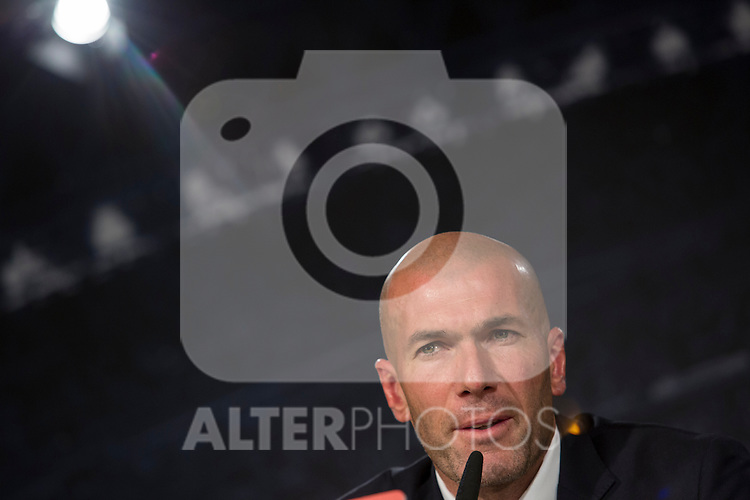 Real Madrid's new coach Zinedine Zidane during his first press conference at the Santiago Bernabeu stadium in Madrid, Spain. January 05, 2015. (ALTERPHOTOS/Victor Blanco)