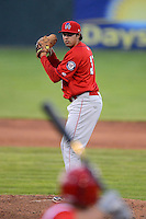 Auburn Doubledays pitcher Kevin Dicharry #31 during a game against the Batavia Muckdogs on June 18, 2013 at Dwyer Stadium in Batavia, New York.  Batavia defeated Auburn 10-2.  (Mike Janes/Four Seam Images)