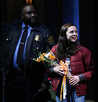 Brian Tyree Henry, Bel Powley during the the Broadway Opening Night Performance curtain call for 'Lobby Hero' at The Hayes Theatre on March 26, 2018 in New York City.
