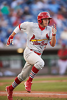 Palm Beach Cardinals second baseman Luke Dykstra (32) runs to first base during a game against the Clearwater Threshers on April 14, 2017 at Spectrum Field in Clearwater, Florida.  Clearwater defeated Palm Beach 6-2.  (Mike Janes/Four Seam Images)