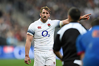 Chris Robshaw of England speaks with referee Jaco Peyper. Natwest 6 Nations match between France and England on March 10, 2018 at the Stade de France in Paris, France. Photo by: Patrick Khachfe / Onside Images